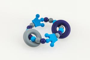 Beissgreifling mit Silikonperlen Kronenduo blau grau