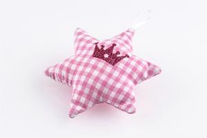 Stoffstern Karo rosa mit Krone bedruckt