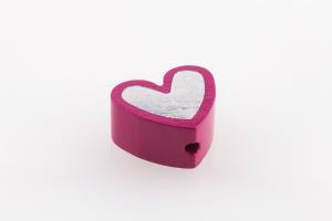 Motivperlen Herz mit Glitzerpraegung in 5 Farben erhaeltlich