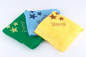 Nuscheli Sternentrio mit Wunschname und farblich angepasst
