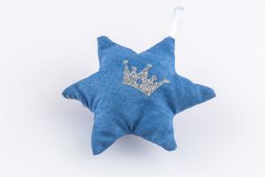 Stoffstern blau mit Krone bedruckt