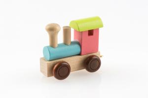 Buchstabenzug Lokomotive bunt