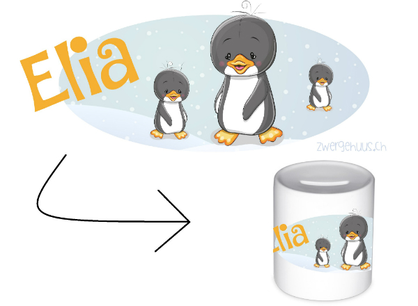 Kaesseli Pinguin mit Name Spardose fuer Kinder