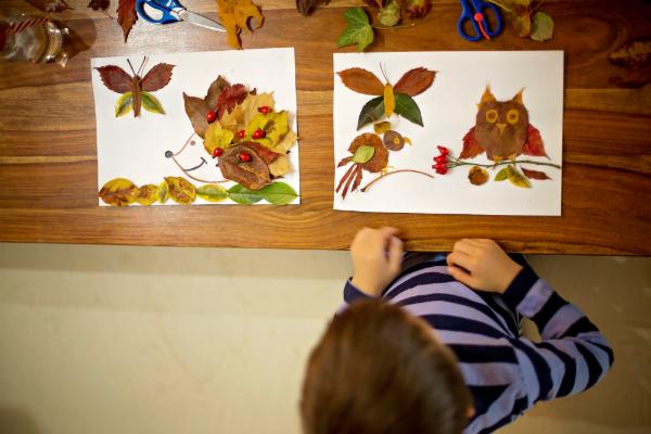 Tierbilder aus Blättern