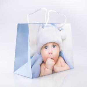 Geschenktasche Baby blau gross