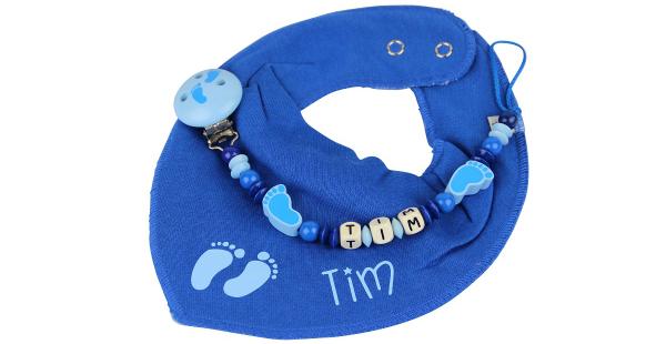 Halstuchset bedruckt Fuesschen blau