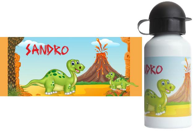 Alu-Trinkflasche mit Name Dino
