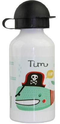 Alu-Trinkflasche mit Name Piratenfisch