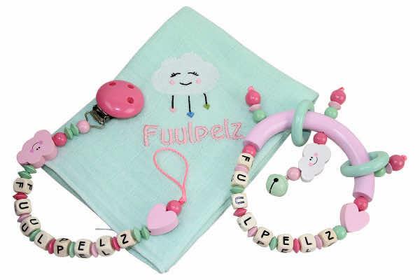 Geschenkset mit Name Wolke rosa:mint