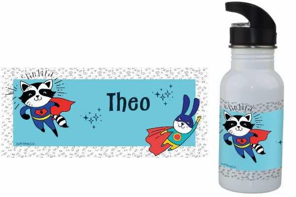 Trinkflasche mit Name Superhelden