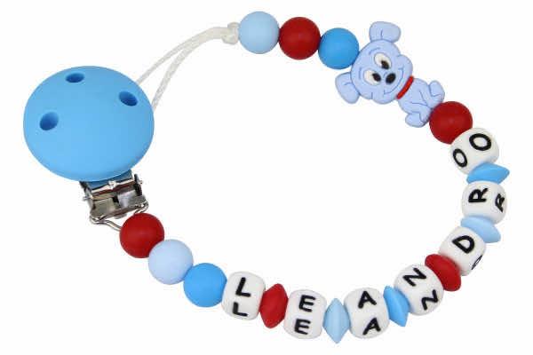 Nuggikette Silikon mit Name Hund blau:rot