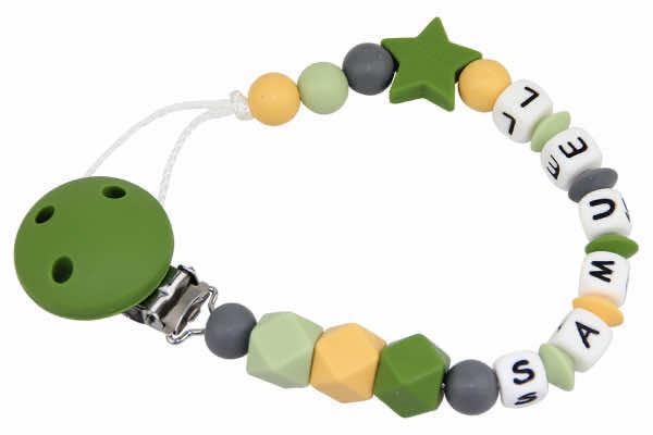 Nuggikette Silikon mit Name Stern grün:senf