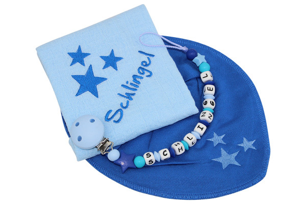Geschenkset SILIKON Sternchen scubablau:pastellblau
