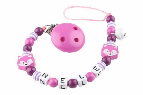 Nuggikette mit Name Fuchsbaby pink:dunkelviolett