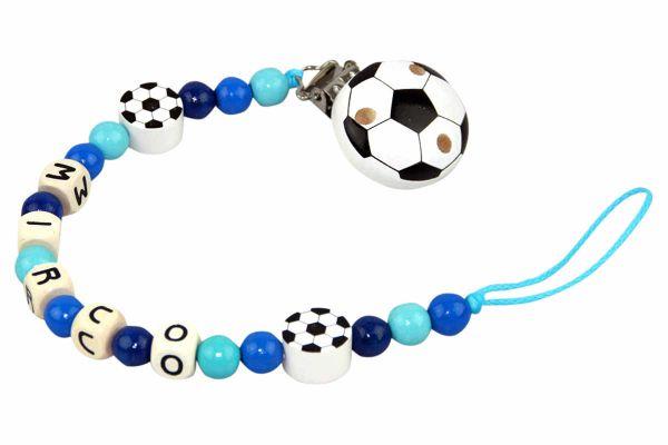 Nuggikette mit Name Fussball türkis:blau
