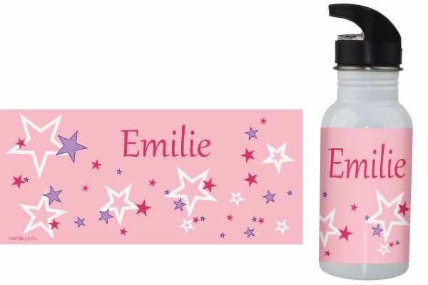 Trinkflasche mit Name Sternchen rosa