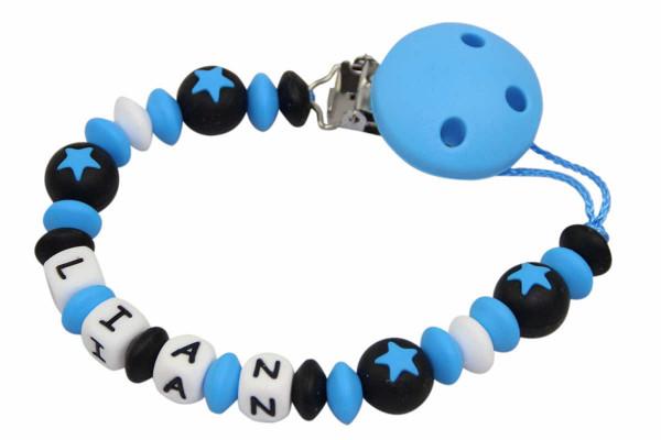 Nuggikette Silikon mit Name Sternperlen blau:schwarz