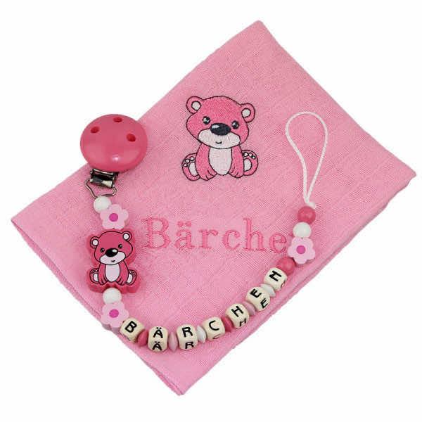 Nuscheliset Teddybär rosa mit Name