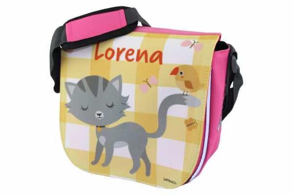 Kindergartentasche mit Name Katze und Vögelchen