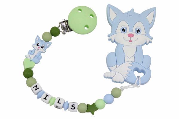 Nuggikette Silikon mit Name und Anhänger Fuchs pastellblau:hellgrün