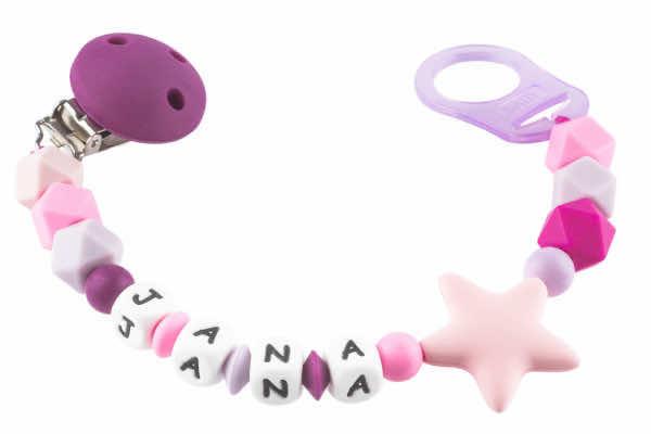 Nuggikette Silikon mit Name Hexagonperlen pink:flieder