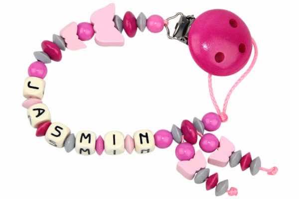 Nuggikette mit Name Schmetterling pink:grau