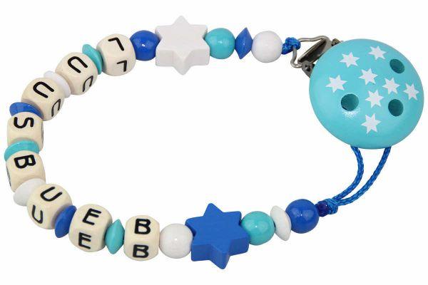 Nuggikette mit Name Sterne blau:türkis