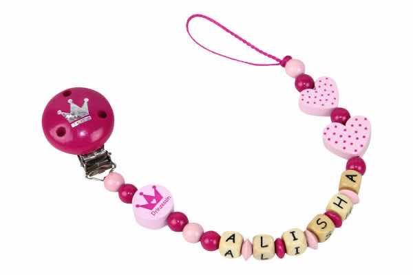 Nuggikette mit Name Prinzessin pink