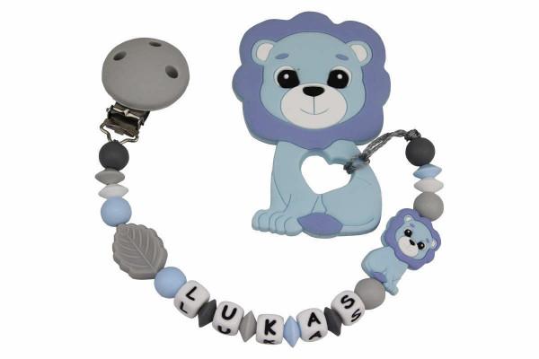 Nuggikette Silikon mit Name Löwe blau:grau