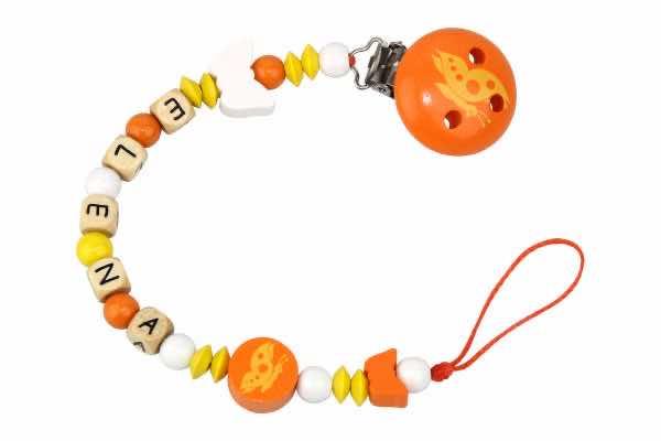 Nuggikette mit Name Schmetterlinge orange:gelb