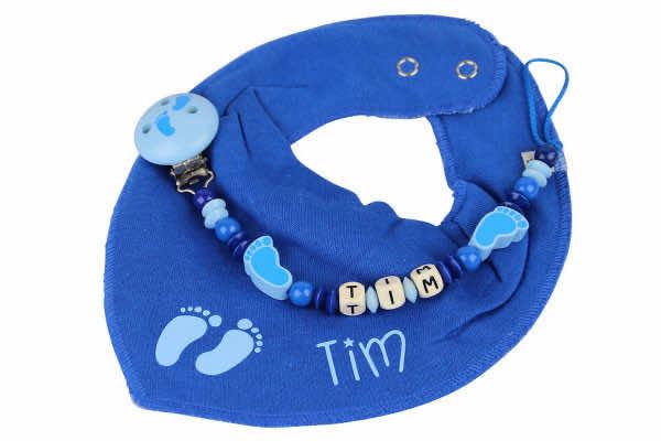 Halstuchset bedruckt Füsschen blau