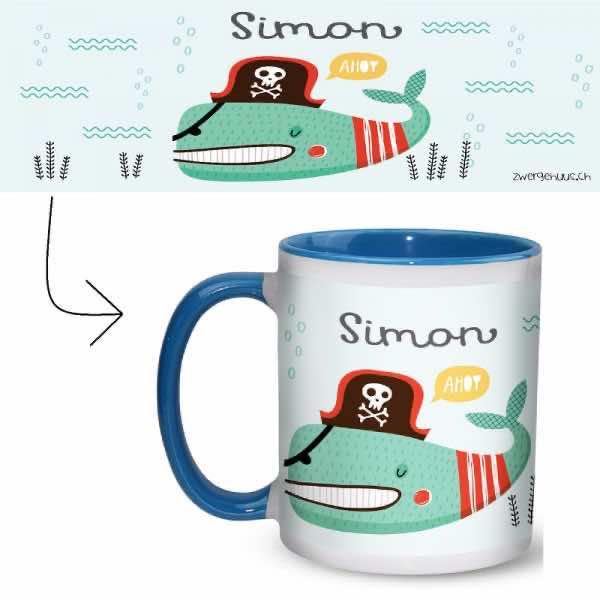 Tasse mit Name Piratenfisch