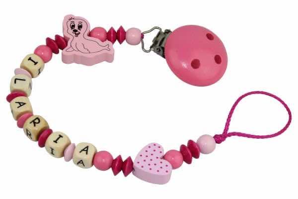 Nuggikette mit Name Robbe mit Tupfenherz rosa