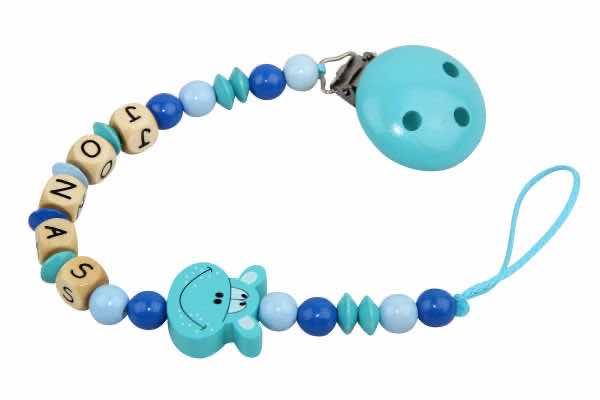Nuggikette mit Name Hippo türkis:blau