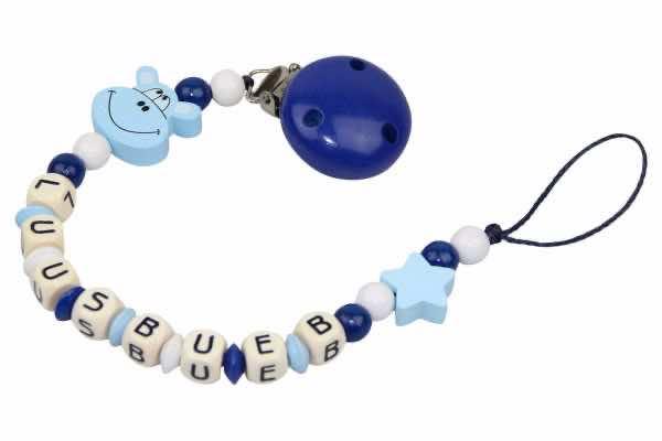 Nuggikette mit Name Hippo blau:weiss