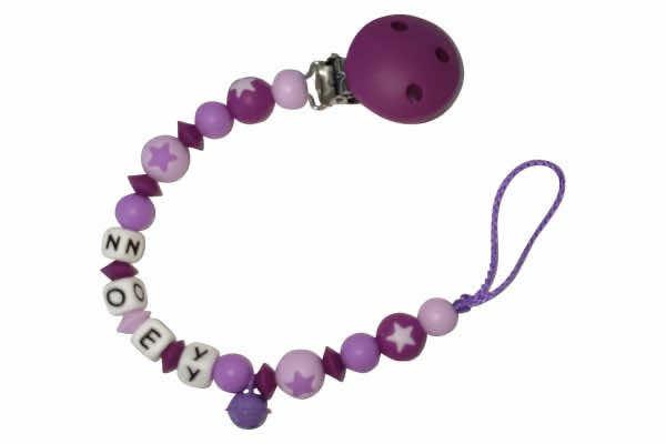 Nuggikette Silikon mit Name Sternperlen dunkelviolett:purple