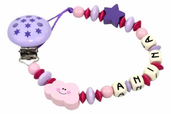 Nuggikette mit Name Wolke rosa:flieder