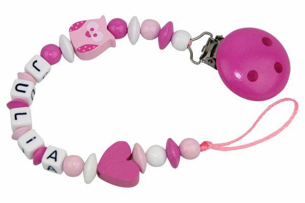 Nuggikette mit Name Eule und Herz pink:weiss