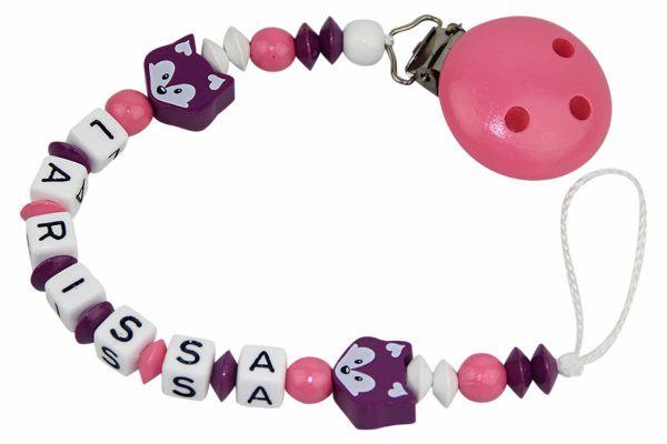 Nuggikette mit Name Fuchsduo dunkelviolett:rosa