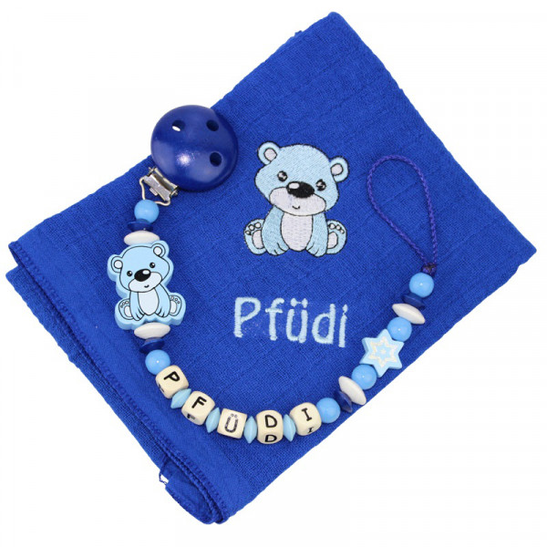 Nuscheliset Teddybär dunkelblau mit Name