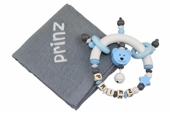 Geschenkset Bärchen grau:pastellblau