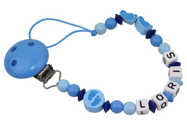 Nuggikette mit Name Füsschen blau