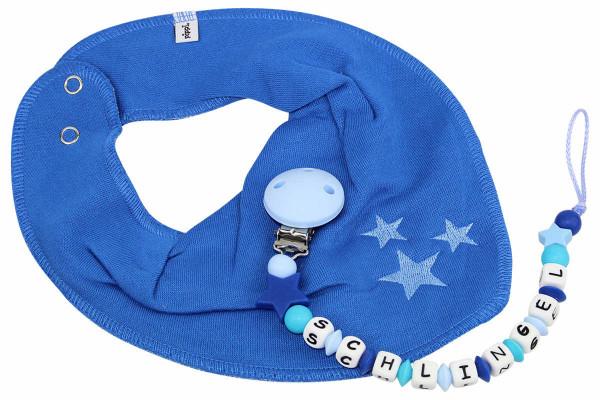 Dreieckstuchset SILIKON Sternchen scubablau:pastellblau