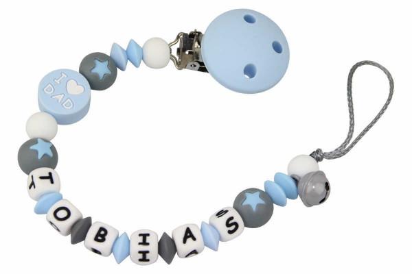 Nuggikette Silikon mit Name Love Dad pastellblau:grau