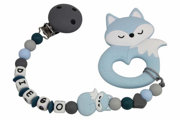 Nuggikette Silikon mit Name Fuchs blau:grau