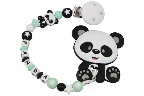 Nuggikette Silikon mit Name Panda mint:weiss