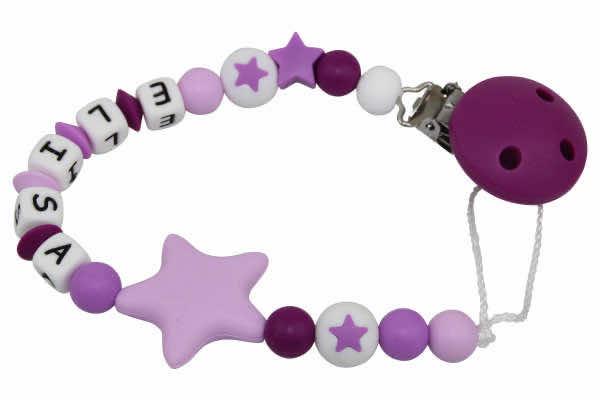 Nuggikette Silikon mit Name Sterne dunkelviolett:purple