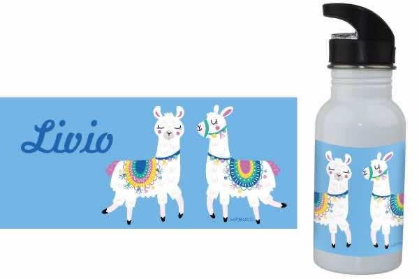 Trinkflasche mit Name Lama blau