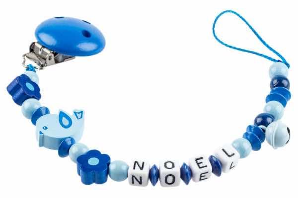 Nuggikette mit Name Vögelchen mit Blumen blau