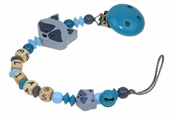 Nuggikette mit Name Waschbär pastellblau:dunkeltürkis